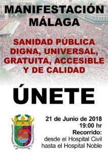 Manifestación por la dignidad de la sanidad pública malagueña: 21 de junio a las 19 horas